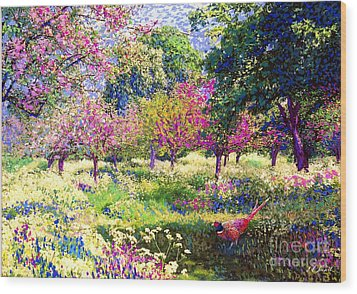 Echoes From Heaven, Spring Orchard Blossom And Pheasant Wood Print by Jane Small