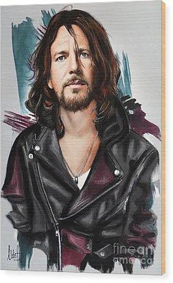 Eddie Vedder Wood Print by Melanie D