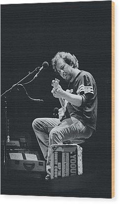 Eddie Vedder Playing Live Wood Print by Marco Oliveira