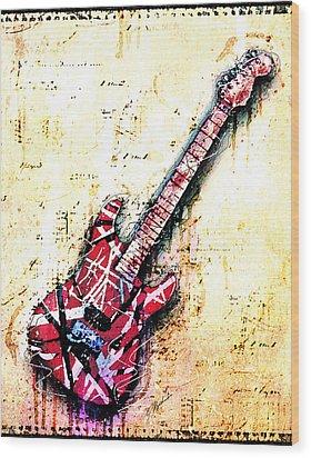 Eddie's Guitar Variation 07 Wood Print by Gary Bodnar