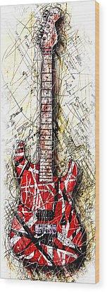 Eddie's Guitar Vert 1a Wood Print by Gary Bodnar