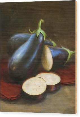 Eggplants Wood Print by Robert Papp