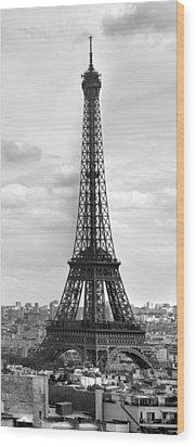 Eiffel Tower Black And White Wood Print by Melanie Viola