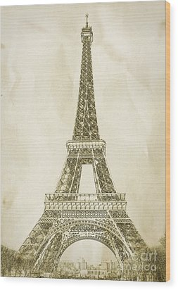 Eiffel Tower Illustration Wood Print by Paul Topp