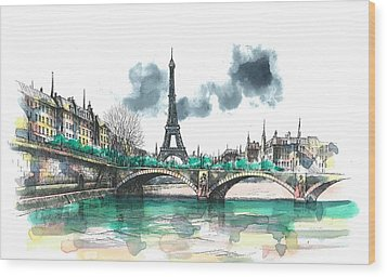 Eiffel Tower Wood Print by Seventh Son