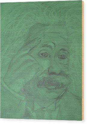 Einstein Wood Print by Manuela Constantin