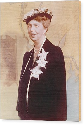 Eleanor Roosevelt. Hand Colored Wood Print by Everett