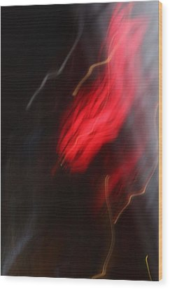 Electric Red And Yellow Wood Print by Karin Kohlmeier