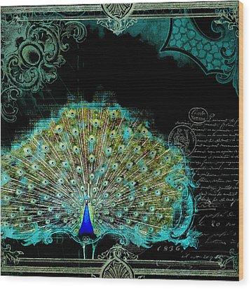 Elegant Peacock W Vintage Scrolls 3 Wood Print by Audrey Jeanne Roberts