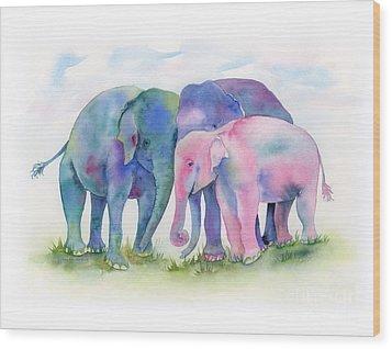 Elephant Hug Wood Print by Amy Kirkpatrick