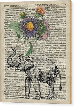 Elephant With Flowers Wood Print by Jacob Kuch