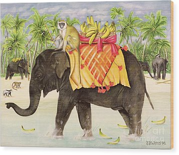 Elephants With Bananas Wood Print by EB Watts