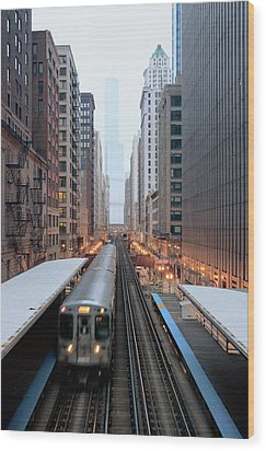 Elevated Commuter Train In Chicago Loop Wood Print by Photo by John Crouch