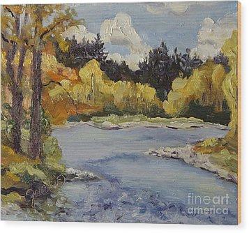 Elk River Fall Steamboat Springs Colorado Wood Print by Zanobia Shalks