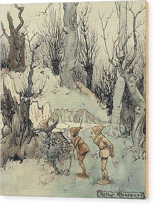 Elves In A Wood Wood Print by Arthur Rackham