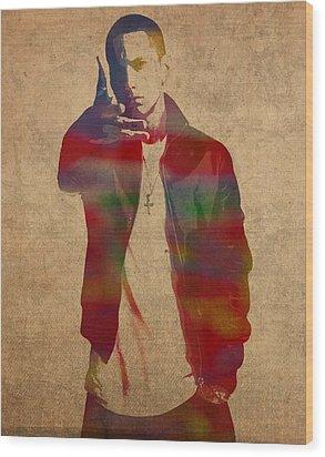 Eminem Watercolor Portrait Wood Print by Design Turnpike