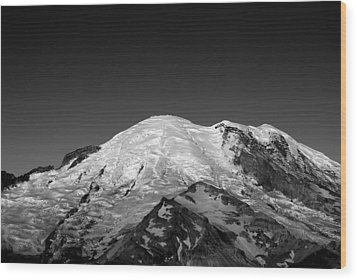 Emmons And Winthrope Glaciers On Mount Rainier Wood Print by Brendan Reals