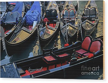 Empty Gondolas Floating On Narrow Canal In Venice Wood Print by Sami Sarkis