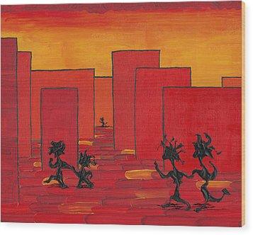 Enjoy Dancing In Red Town P1 Wood Print by Manuel Sueess