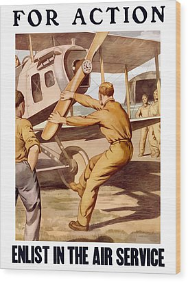 Enlist In The Air Service Wood Print by War Is Hell Store