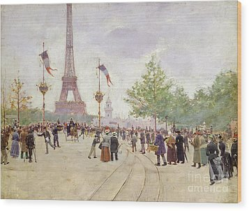 Entrance To The Exposition Universelle Wood Print by Jean Beraud