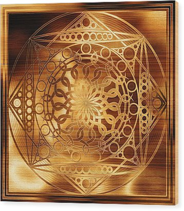 Eternity Mandala Golden Zebrawood Wood Print by Hakon Soreide