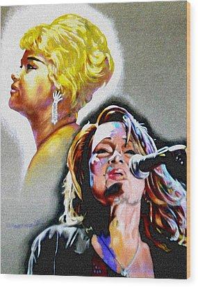 Etta James Wood Print by Christopher Martinez