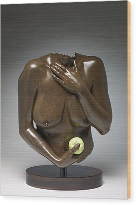 Eve With Green Apple Wood Print by Wayne Berger