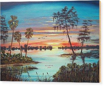 Everglades Sunset Wood Print by Riley Geddings