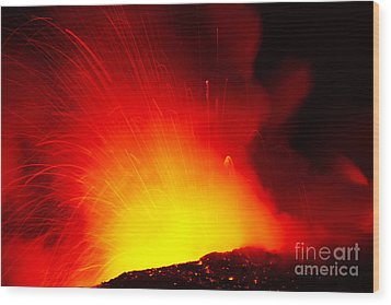 Exploding Lava At Night Wood Print by Peter French - Printscapes