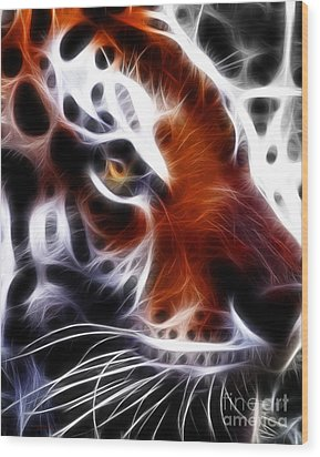 Eye Of The Tiger 2 Wood Print by Wingsdomain Art and Photography