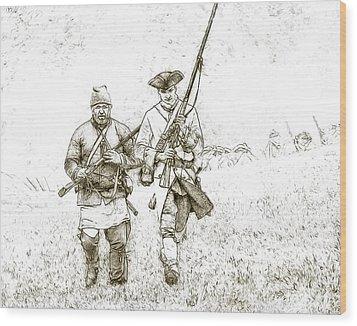 Face Of Danger Soldier Sketch Wood Print by Randy Steele