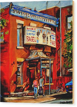 Fairmount Bagel Montreal Wood Print by Carole Spandau