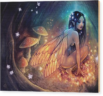 Fairydust Nest Wood Print by Caroline Jamhour