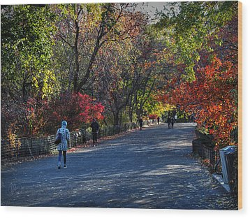 Fall Colors In Central Park 001 Wood Print by Lance Vaughn