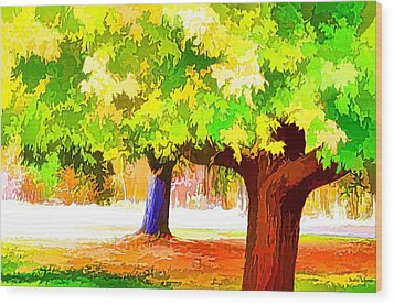 Fall Leaves Trees 1 Wood Print by Lanjee Chee