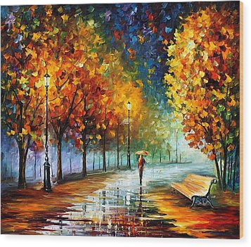 Fall Marathon Wood Print by Leonid Afremov