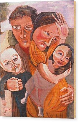 Family Struggle Wood Print by John Keaton