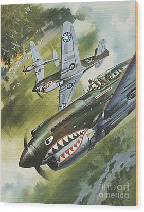 Famous Aircraft And Their Pilots Wood Print by Wilf Hardy