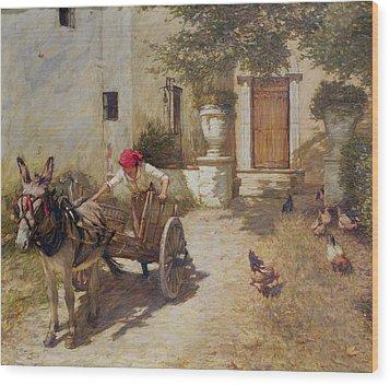 Farm Yard Scene Wood Print by Henry Herbert La Thangue