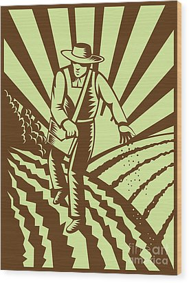 Farmer Sowing Seeds  Wood Print by Aloysius Patrimonio