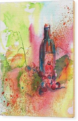 Fat Cat Wine Wood Print by Sharon Mick
