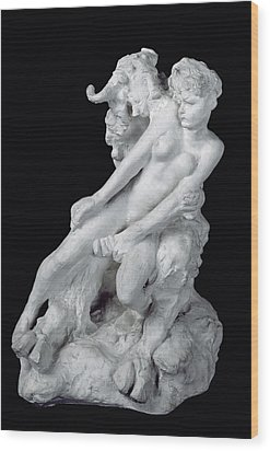Faun And Nymph Wood Print by Auguste Rodin