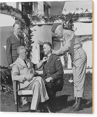 Fdr Presenting Medal Of Honor To William Wilbur Wood Print by War Is Hell Store