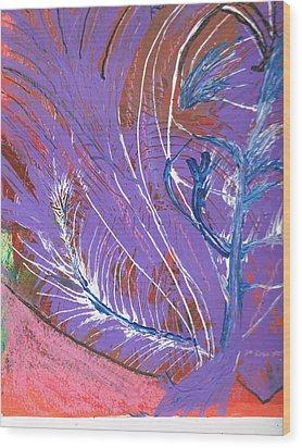 Feathery Fantasy Wood Print by Anne-Elizabeth Whiteway