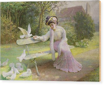 Feeding The Doves  Wood Print by Edmond Alphonse Defonte