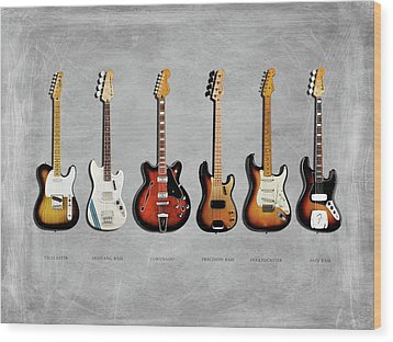 Fender Guitar Collection Wood Print by Mark Rogan