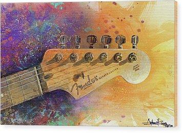 Fender Head Wood Print by Andrew King