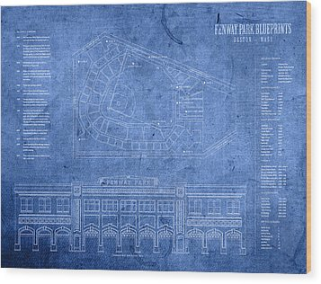 Fenway Park Blueprints Home Of Baseball Team Boston Red Sox On Worn Parchment Wood Print by Design Turnpike