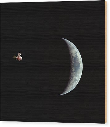 Fifi In Space Wood Print by Michael Ledray